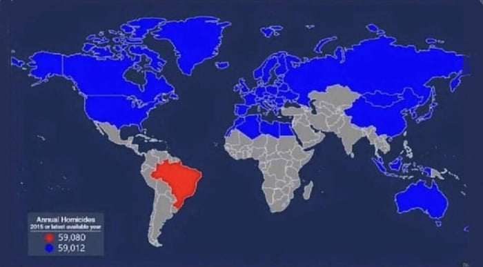 All the countries that have to be combined to equal Brazil's annual homicides
