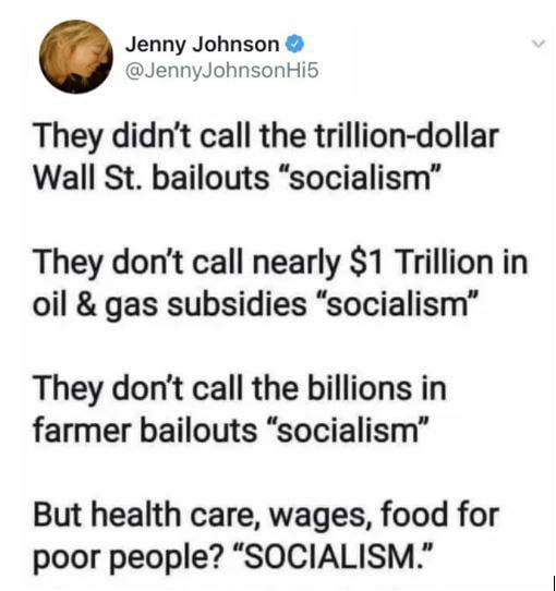 The top 1% sometimes is okay with socialism only when it benefits them