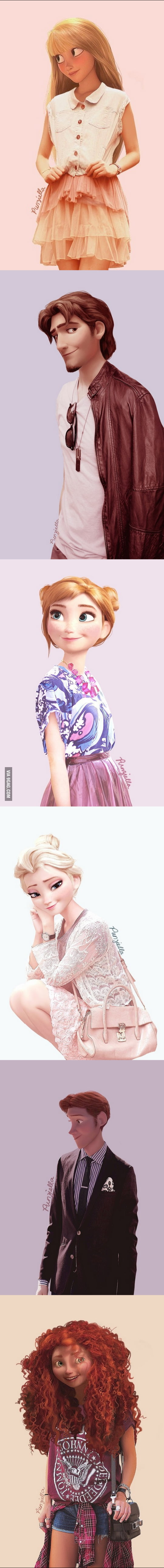 What Disney characters would look like in modern clothing.
