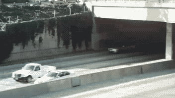 Truck goes through a tunnel.