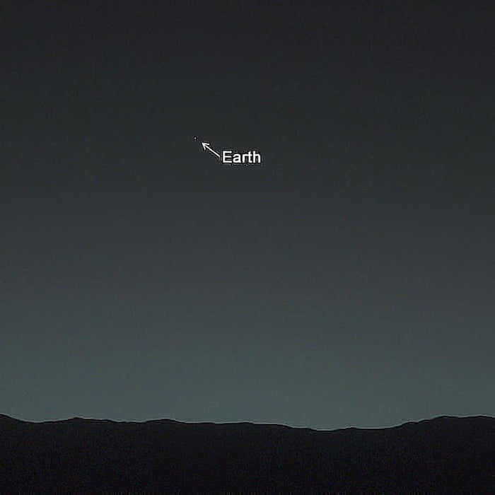 Earth as seen from the surface of Mars, shining brighter than any star in the Martian night sky. This picture was taken by NASA's Curiosity rover. Imagine being on Mars and looking at a tiny speck of light…and it's Earth. Image credit NASA