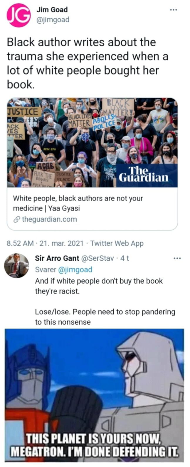 It seems like whatever you do as a white person these days it's racists and it has come to a point where it's annoying. Your thoughts? Do you feel shame for being white in today's society?