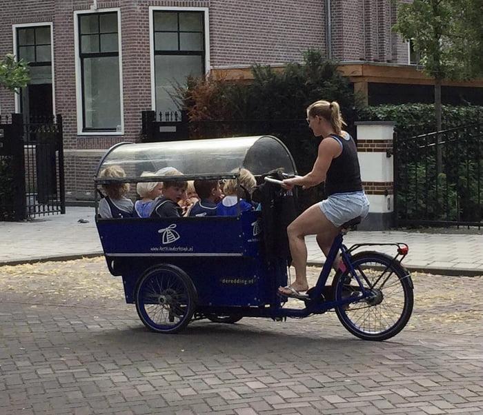 A school bus in Amsterdam.