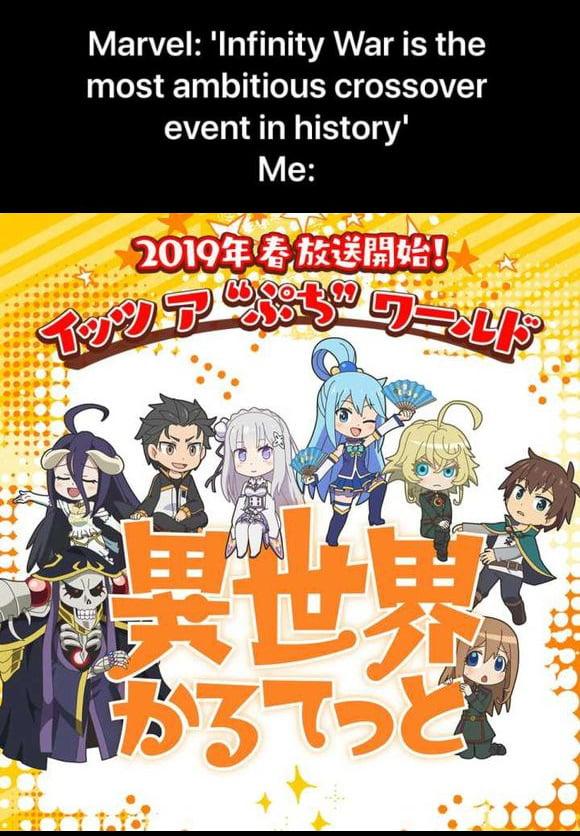 Kadokawa's YouTube page has a trailer for a crossover of Overlord, KonoSuba, Re:Zero & Youjo Senki (Saga of Tanya the Evil).