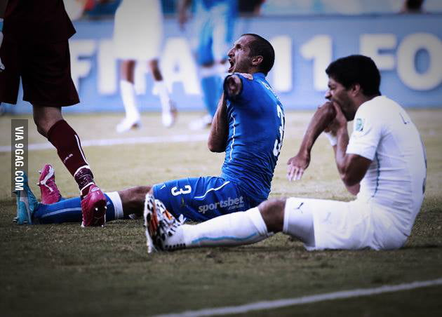 Only unshopped Suarez world cup biting incident picture on the interweb