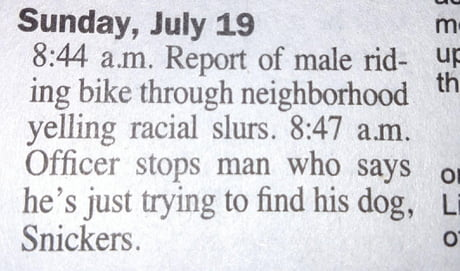 Wisconsin newspaper police blotter