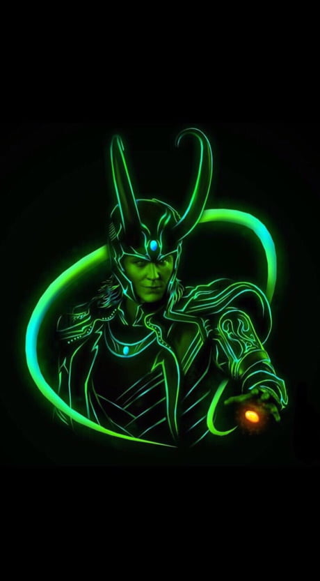 HD Neon-traced Loki wallpaper with