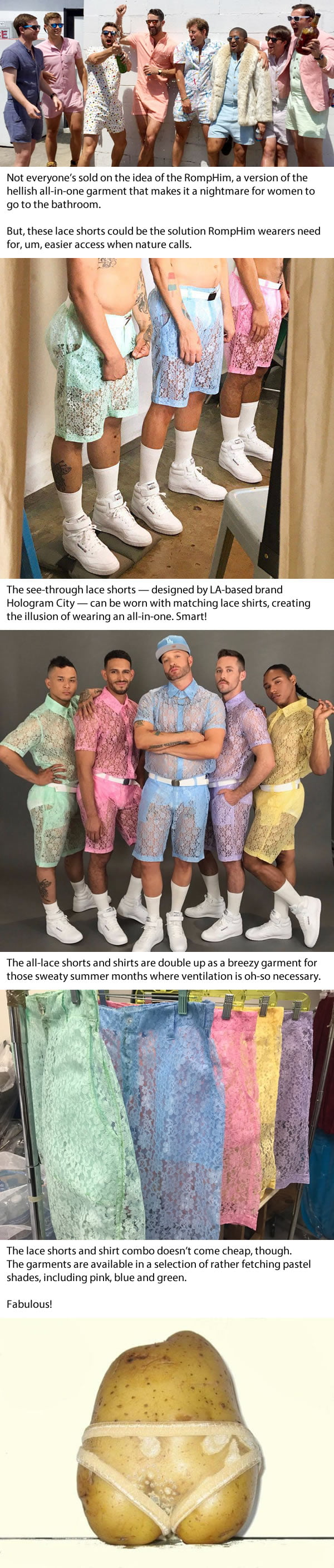 Lace shorts for men are the new RompHim and honestly who the hell design these ...
