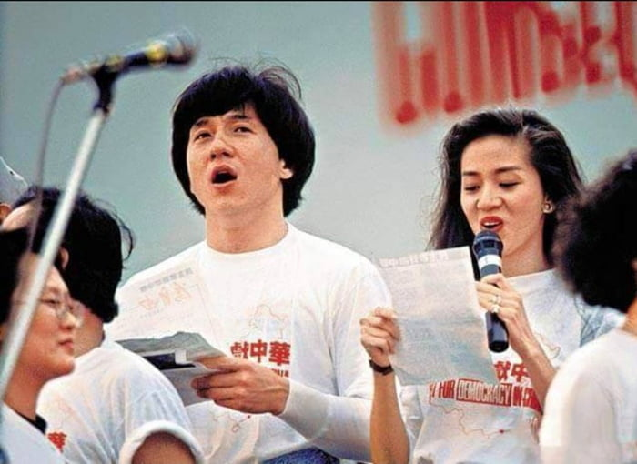 Actor and martial arts star Jackie Chan at the benefit concert in Hong Kong, in support of Tiananmen Square protesters - 1989 [640x463]