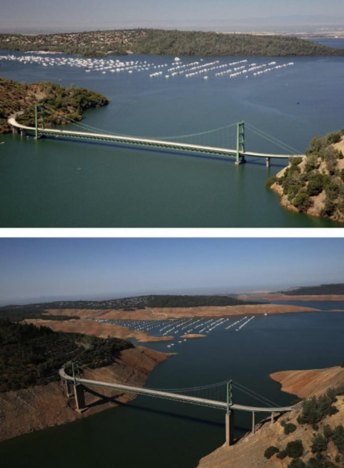 California, what losing 63 trillion gallons of water looks like...