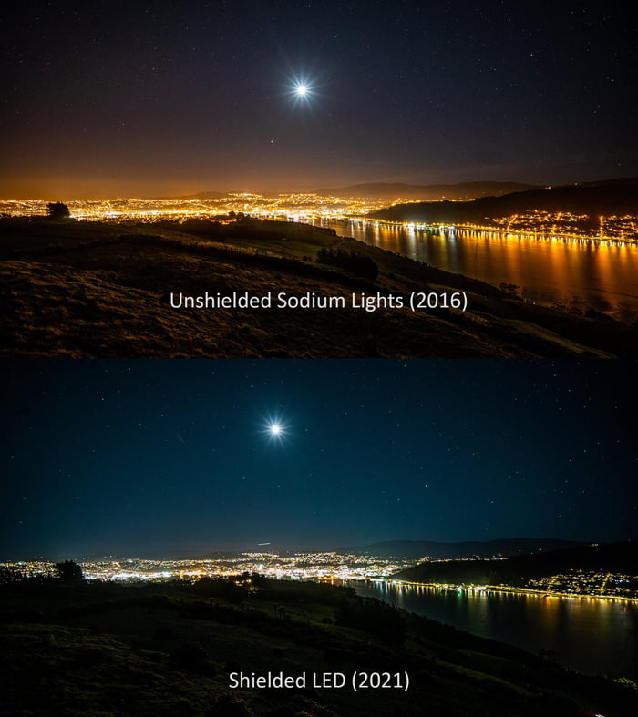 Comparison on the effect of light pollution after the city of Dunedin, New Zealand, changed all its sodium lights to shielded LED lighting - credit Brad Phipps