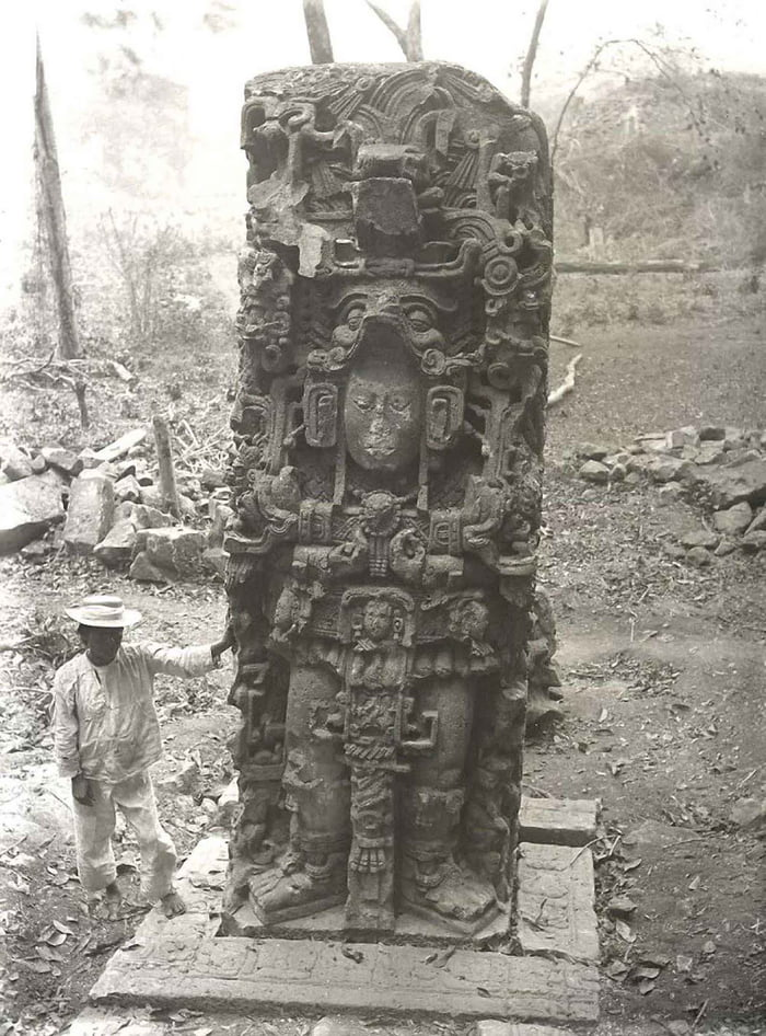 Vintage photo documenting the discovery of Maya ruins, 1880-1900