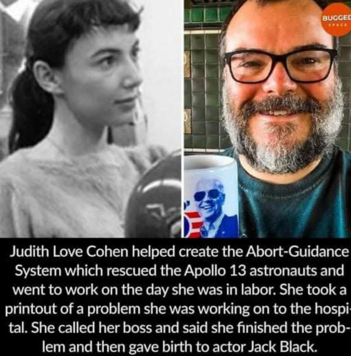 Judith Love Cohan helped create a rescue system for Apollo 13 while in the hospital about to give birth.