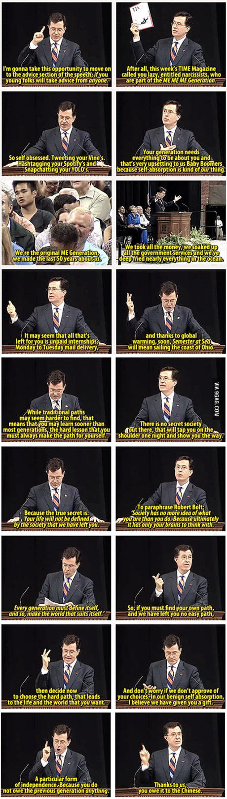 Stephen Colbert gets real