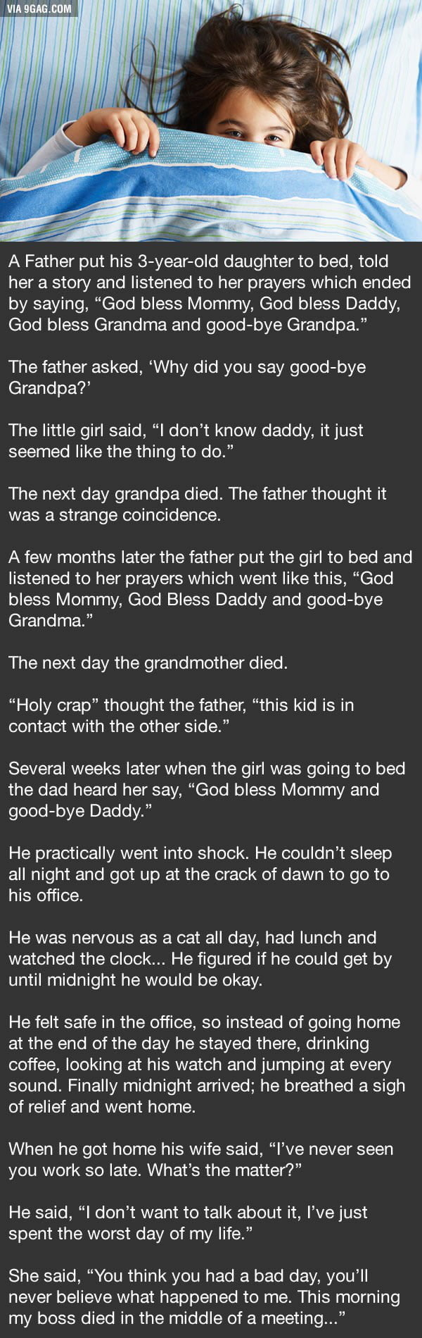 A father put his 3 year old daughter to bed...