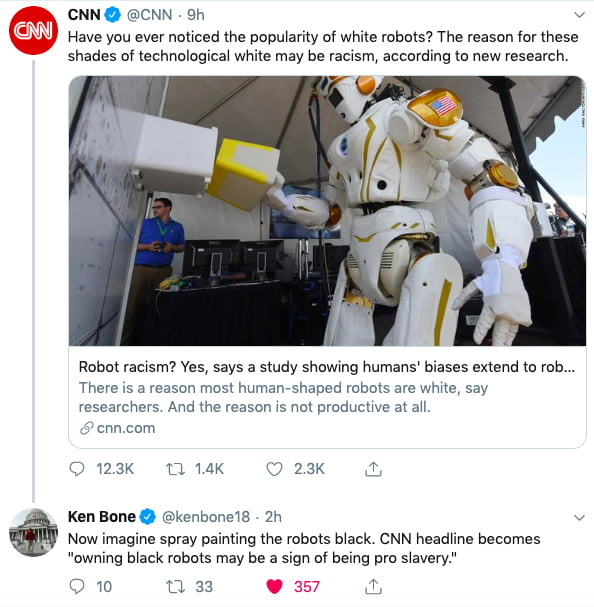 Apparently robots painted white are proof of racism now