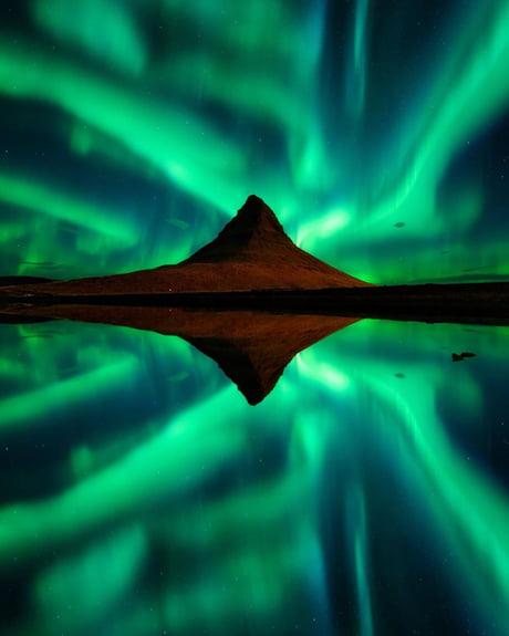 Aurora Borealis in Kirkjufell, Iceland