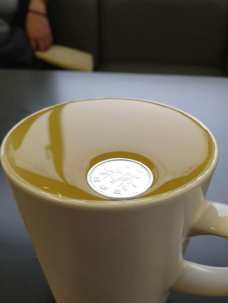 Awesome The Japanese One Yen coin is so light that it float on still water. It doesn't break the surface tension.