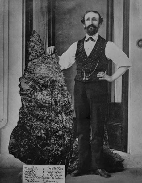 Awesome Bernhardt Otto Holtermann with his 630 Lbs gold nugget, 1882