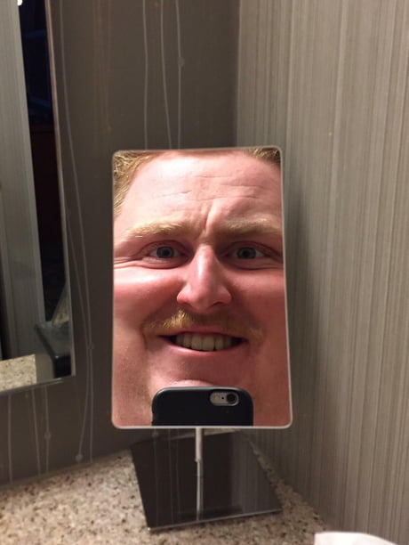 When you're feeling good but your hotel mirror puts you back in place