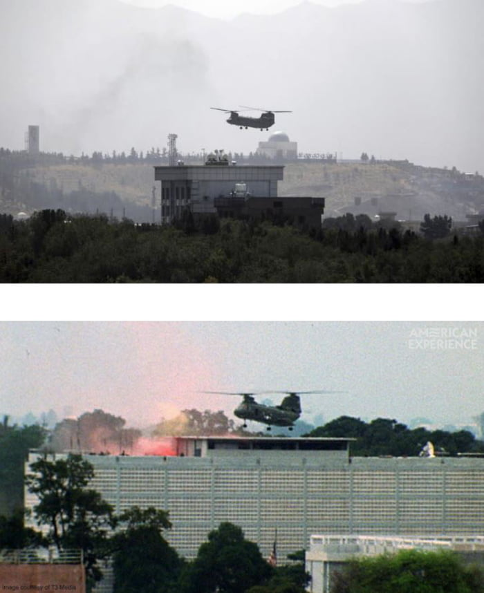 The U.S. Embassy in Afghanistan 2021 and the U.S. Embassy in South Vietnam 1975.