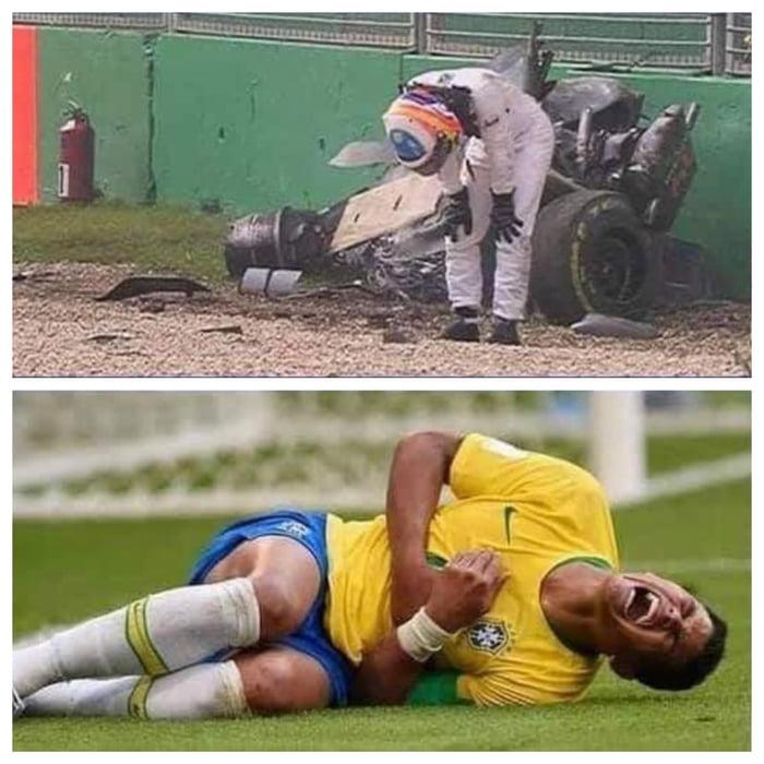 F1 driver crashing at 200 mph vs. Soccer player getting shirt pulled.