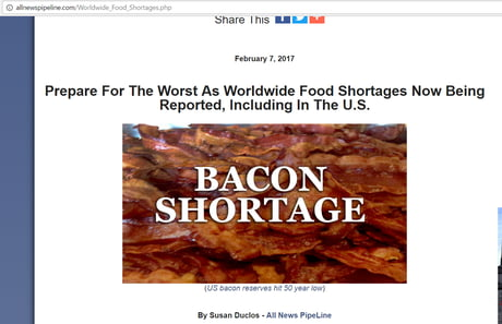 worldwide food shortage The true food shortages which have sparked riots in other countries have thus far escaped the usa it is foolish to think we are immune forever.