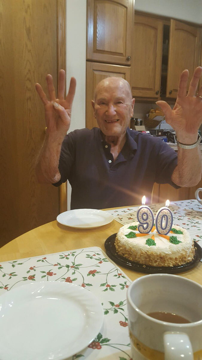 Grandpa was pretty excited about his 90th birthday this year.
