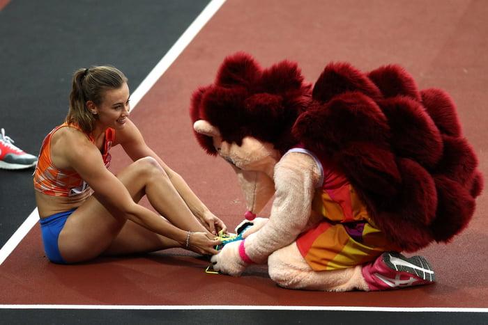Helpful hedgehog at the Tokyo Olympics