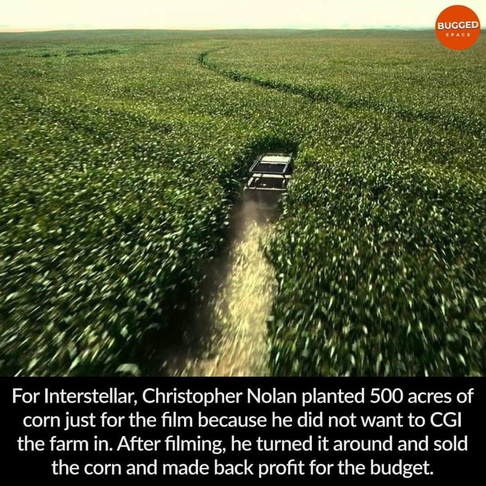 Christopher Nolan planted 500 acres of corn for Interstellar instead of faking it with CGI