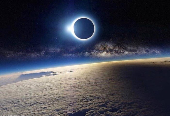 The eclips of today seen from space.