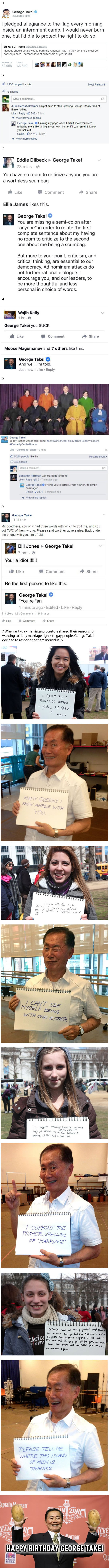 "Happy birthday George Takei. 7 Times He Set His Phasers To ""Savage""!"