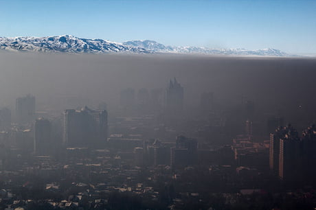 Awesome Smog trapped over the city of Almaty, Kazakhstan due to a temperature inversion in January 2014.
