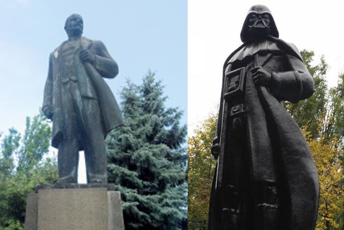 Statue of Lenin converted into Darth Vader. A creative way to solve the problem with communist scrap.