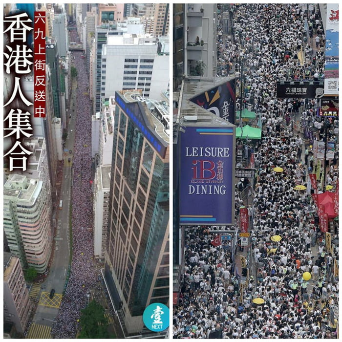 A protest of 1.03 Million People in a city with a population of 7 Million. That means every 1/7 of the people in Hong Kong are protesting for keeping their rights.