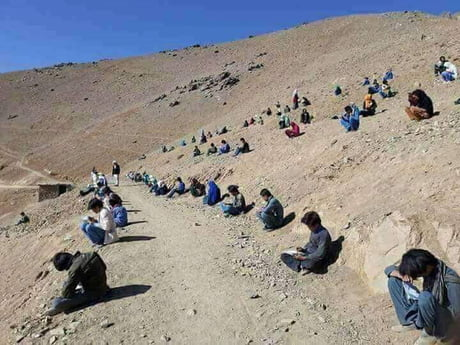 This is how students do their exams in some areas of Balochistan.