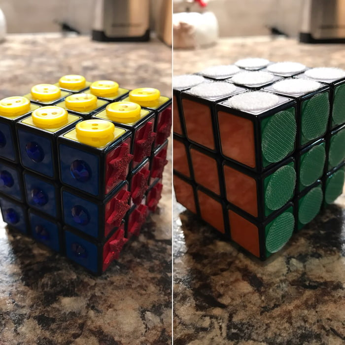 Rubix cube for a blind person.