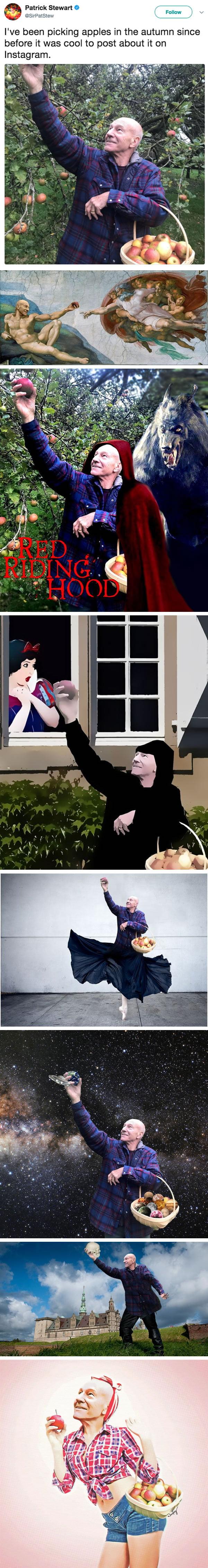 Patrick Stewart's Joyous Apple-Picking Trip Sparks Glorious Photoshop Battle
