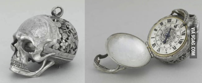 17th century skull pocket watch