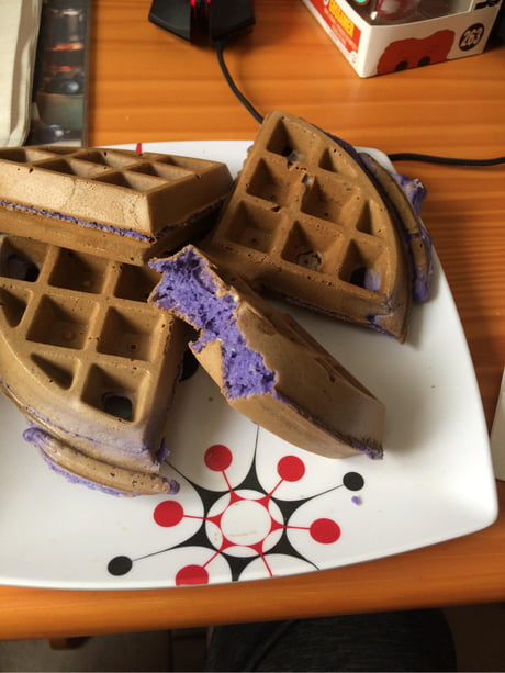 I made blueberry waffles ...