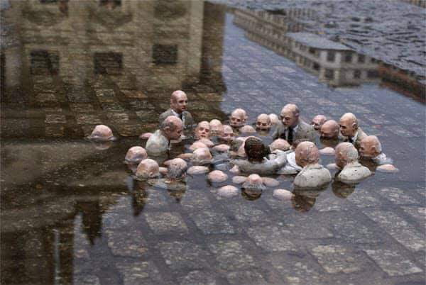 This is an artwork recently installed in Berlin. It's called 'Politicians discuss Global Warming'