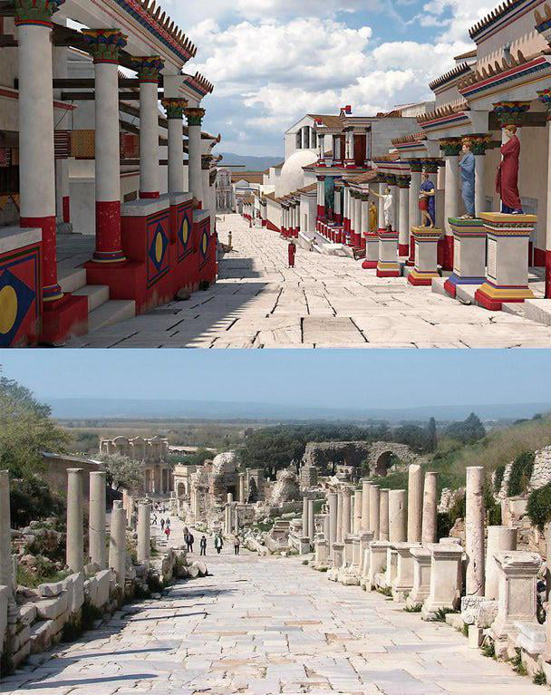 This is how Ancient Greece really looked like. Here's a reconstruction of Curetes Street in ancient Ephesus