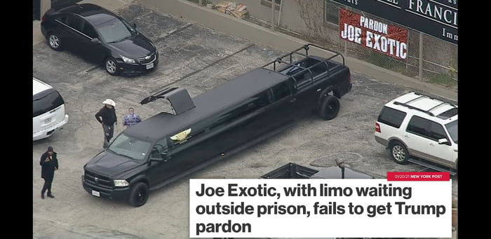 He rented a limo and got left in prison. This is perfection.