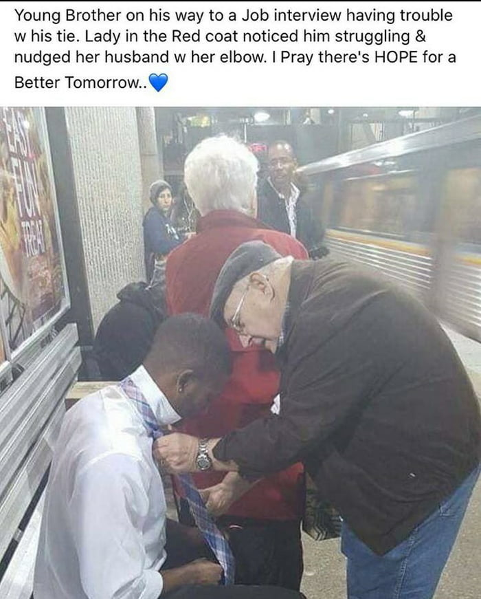 Old couple helping out a guy in need.