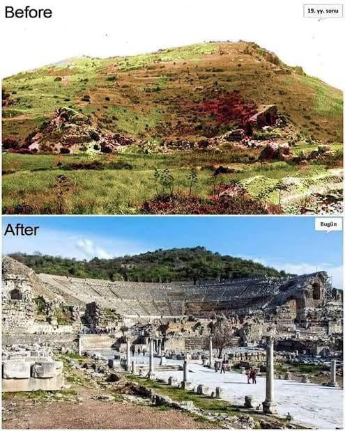 The Ancient City of Ephesus before and after the excavation started.