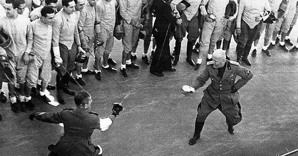 Former Italian leader Benito Mussolini used to challenge all of his critics, journalists and other politicans to literal sword duels. Between 1915-1922, Mussolini fought in five duels and won all of them.