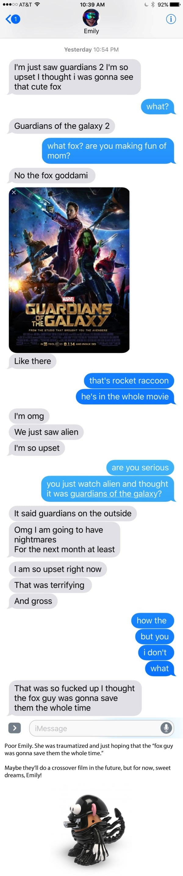 Girl Has the Worst 'Guardians of the Galaxy Vol. 2' Experience You Can Imagine