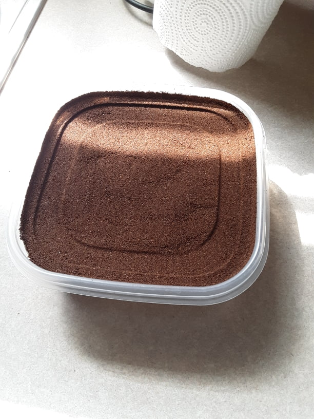 This coffee pressed into a Tupperware container