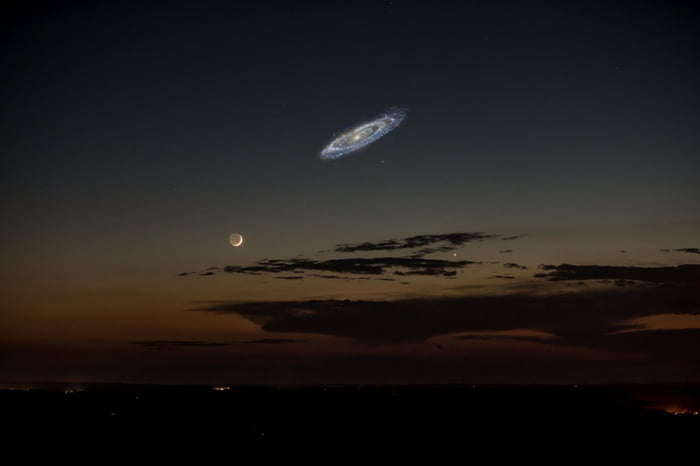 How large the Andromeda Galaxy would appear in the night sky if it were brighter