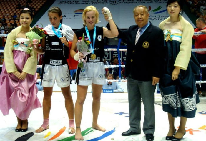 Photo: Joanna Jedrzejczyk and Valentina Shevchenko in 2007 after one of their three previous contests. Valentina has a 3-0 record over Joanna in Muay Thai.